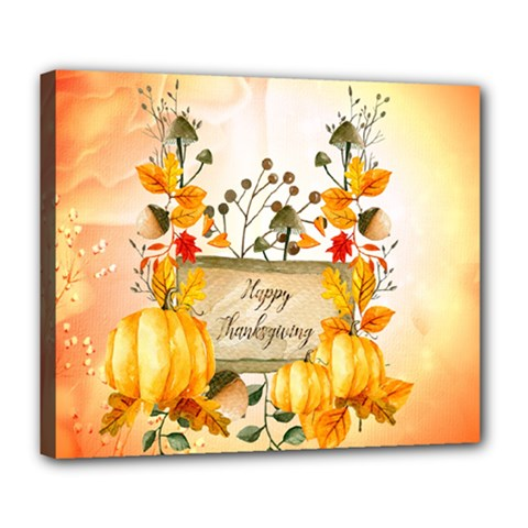 Happy Thanksgiving With Pumpkin Deluxe Canvas 24  X 20