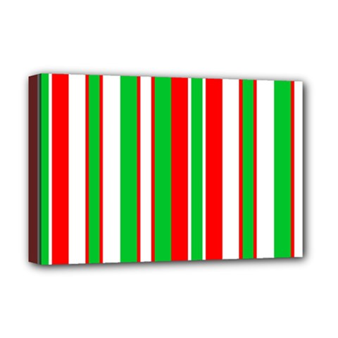 Christmas Holiday Stripes Red Deluxe Canvas 18  X 12