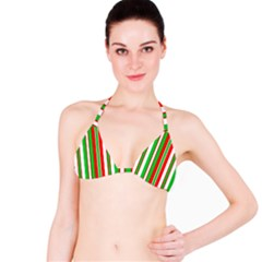 Christmas Holiday Stripes Red Bikini Top