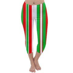 Christmas Holiday Stripes Red Capri Winter Leggings