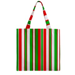 Christmas Holiday Stripes Red Zipper Grocery Tote Bag