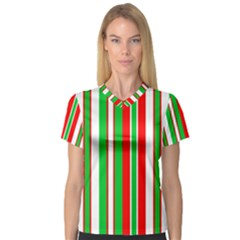 Christmas Holiday Stripes Red V Neck Sport Mesh Tee