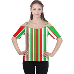 Christmas Holiday Stripes Red Cutout Shoulder Tee