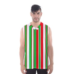 Christmas Holiday Stripes Red Men s Basketball Tank Top