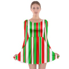 Christmas Holiday Stripes Red Long Sleeve Skater Dress