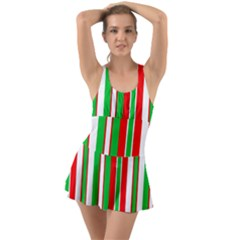 Christmas Holiday Stripes Red Swimsuit