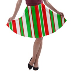 Christmas Holiday Stripes Red A Line Skater Skirt