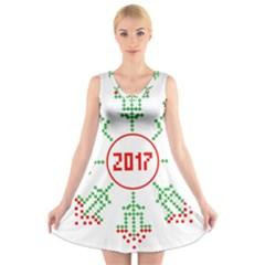 Snowflake Graphics Date Year V Neck Sleeveless Skater Dress