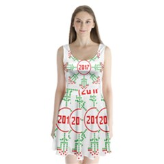 Snowflake Graphics Date Year Split Back Mini Dress