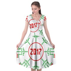 Snowflake Graphics Date Year Cap Sleeve Wrap Front Dress