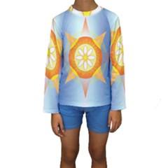 Star Pattern Background Kids  Long Sleeve Swimwear