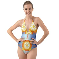 Star Pattern Background Halter Cut Out One Piece Swimsuit