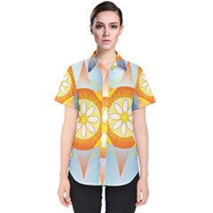 Star Pattern Background Women s Short Sleeve Shirt