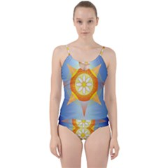 Star Pattern Background Cut Out Top Tankini Set