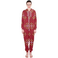 Pattern Background Holiday Hooded Jumpsuit (ladies)