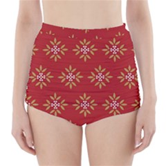 Pattern Background Holiday High Waisted Bikini Bottoms