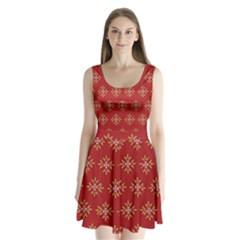 Pattern Background Holiday Split Back Mini Dress