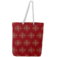 Pattern Background Holiday Full Print Rope Handle Tote (large)