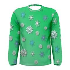 Snowflakes Winter Christmas Overlay Men s Long Sleeve Tee