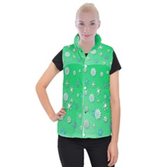 Snowflakes Winter Christmas Overlay Women s Button Up Puffer Vest