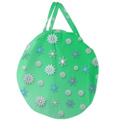 Snowflakes Winter Christmas Overlay Giant Round Zipper Tote