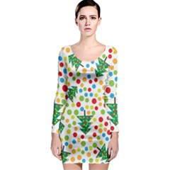 Pattern Circle Multi Color Long Sleeve Bodycon Dress