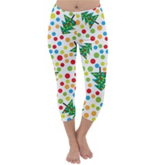Pattern Circle Multi Color Capri Winter Leggings