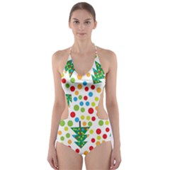 Pattern Circle Multi Color Cut Out One Piece Swimsuit
