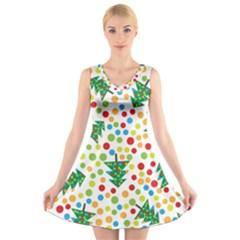Pattern Circle Multi Color V Neck Sleeveless Skater Dress