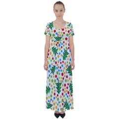 Pattern Circle Multi Color High Waist Short Sleeve Maxi Dress
