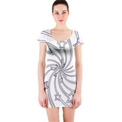 Star Christmas Pattern Texture Short Sleeve Bodycon Dress