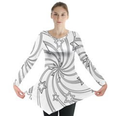 Star Christmas Pattern Texture Long Sleeve Tunic