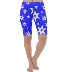 Star Background Pattern Advent Cropped Leggings