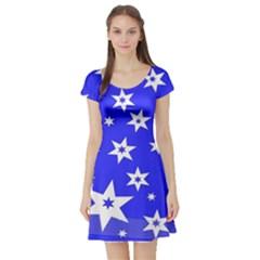 Star Background Pattern Advent Short Sleeve Skater Dress
