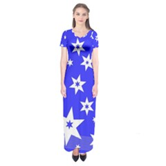 Star Background Pattern Advent Short Sleeve Maxi Dress