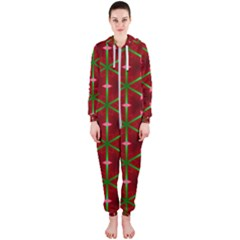 Textured Background Christmas Pattern Hooded Jumpsuit (ladies)
