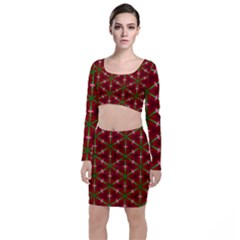 Textured Background Christmas Pattern Long Sleeve Crop Top & Bodycon Skirt Set