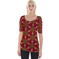 Textured Background Christmas Pattern Wide Neckline Tee