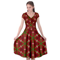 Textured Background Christmas Pattern Cap Sleeve Wrap Front Dress