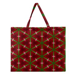 Textured Background Christmas Pattern Zipper Large Tote Bag