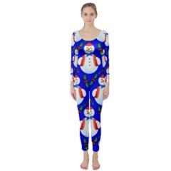 Seamless Repeat Repeating Pattern Long Sleeve Catsuit