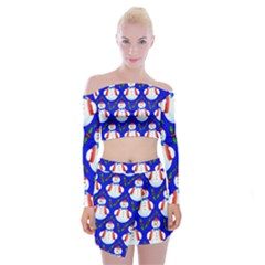 Seamless Repeat Repeating Pattern Off Shoulder Top With Mini Skirt Set