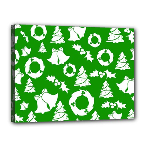 Green White Backdrop Background Card Christmas Canvas 16  X 12