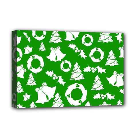 Green White Backdrop Background Card Christmas Deluxe Canvas 18  X 12