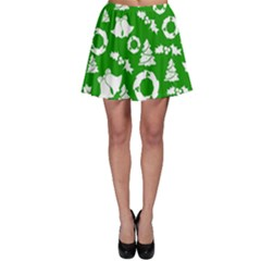Green White Backdrop Background Card Christmas Skater Skirt