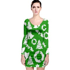 Green White Backdrop Background Card Christmas Long Sleeve Bodycon Dress