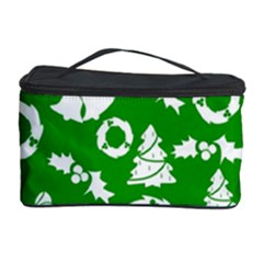 Green White Backdrop Background Card Christmas Cosmetic Storage Case