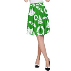 Green White Backdrop Background Card Christmas A Line Skirt