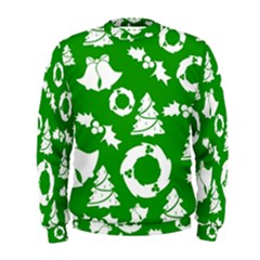 Green White Backdrop Background Card Christmas Men s Sweatshirt