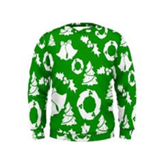 Green White Backdrop Background Card Christmas Kids  Sweatshirt